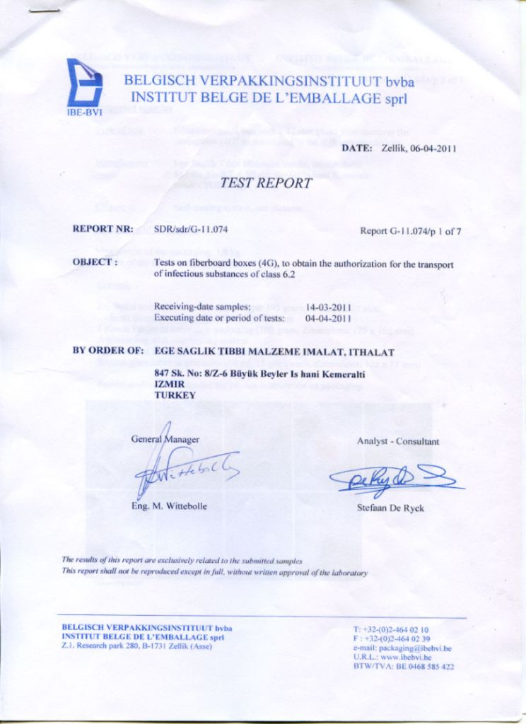 UN CERTIFICATE TEST REPORT